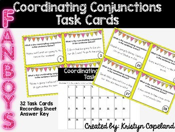 FANBOYS Coordinating Conjunctions Task Cards