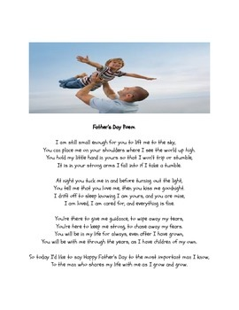 FATHER'S DAY POEM (for a father, or the very important man