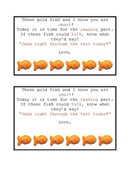 FCAT Reading Goldfish Encouragement Cards