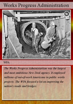 FDR's New Deal comprehension and trading cards