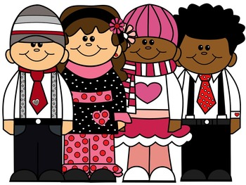KIDS CLIP ART * VALENTINES * COLOR AND BLACK AND WHITE