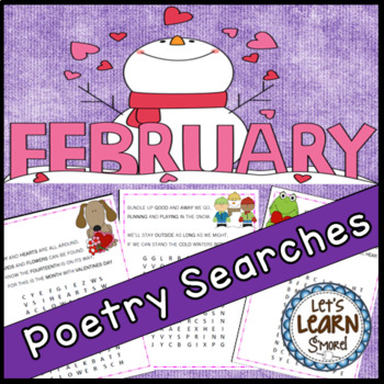 February Poetry, Word Searches, Winter Theme, With Origina