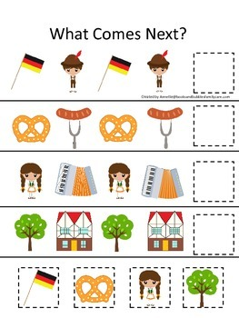 Germany What Comes Next preschool math game.  Printable da
