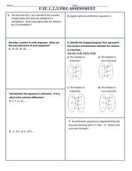 F.IF.1,2,3 Pre AND Post Assessment/Test Algebra 1 Common Core