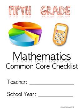 FILL and SAVE Fifth Grade (5th Grade) Math CCSS Checklist