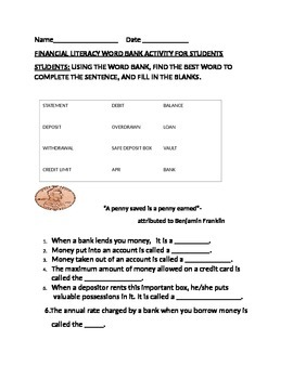 FINANCIAL LITERACY WORD BANK ACTIVITY FOR STUDENTS