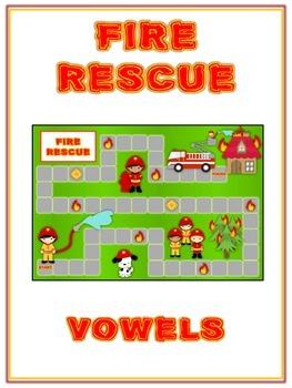 FIRE RESCUE Vowels- ELA First Grade Folder Game - Word Wor