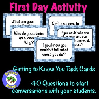 FIRST DAY ACTIVITY: Getting to Know You Task Cards Volume 1