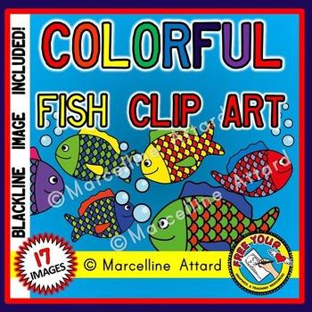 COLORFUL FISH CLIPART: OCEAN CLIPART: SUMMER CLIPART: RAIN