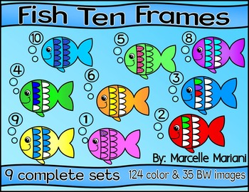 FISH TEN FRAMES- SUMMER TEN FRAMES- COMMERCIAL USE- 159 images