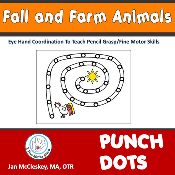 Fine Motor Fall and Farm Animal CRAZY PUNCH DOTS for Cente