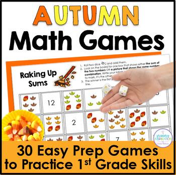 First Grade Math Fall Partner Games