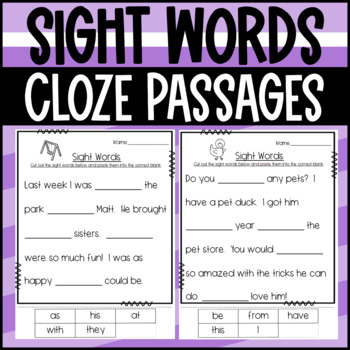 First Grade Sight Word Sorts- Fill in the paragraphs with