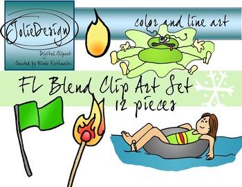 FL Blend Phonics Clip Art Set - Color and Line Art 12 pc set