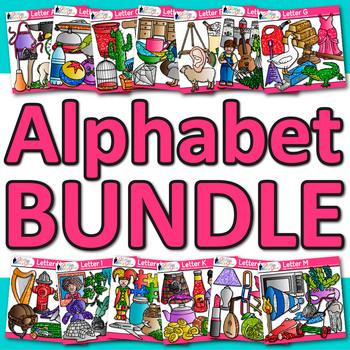 A - Z Alphabet Clip Art Bundle {Teach Phonics, Recognition