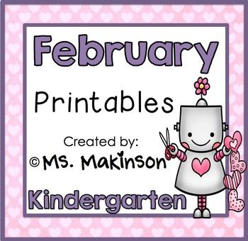 February Printables - Kindergarten Literacy and Math