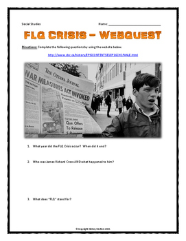 FLQ (October) Crisis - Webquest with Key (Canadian History)