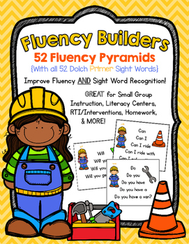 FLUENCY BUILDERS: 52 Dolch Primer Sight Word Sentence Pyramids