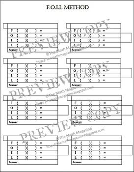 FOIL Method Multiplying Binomials Graphic Organizer IEP Ac