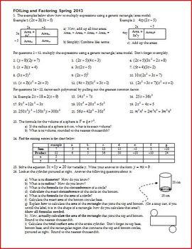 FOILing and Factoring - FOIL - Factor - Spring 2013