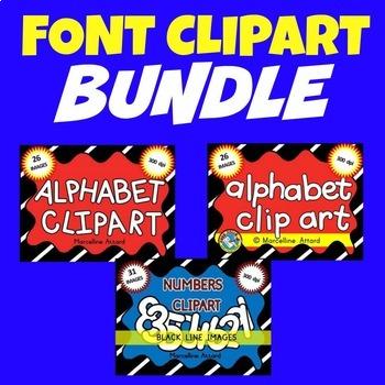 FONT CLIPART BUNDLE: NUMBERS CLIPART + LETTERS CLIPART: BL
