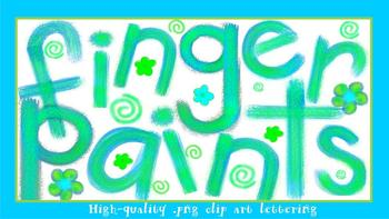 FONTS - Finger paints - With matching clip art and frames!