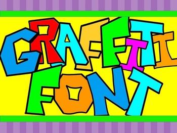 FONTS - Graffiti Colors - Hand Illustrated Font - Personal