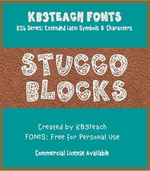 FREE FONTS: KB3 Stucco Blocks (Personal Use: K26 Series)