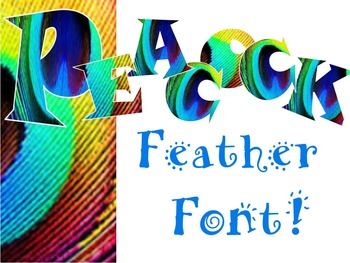 FONTS - Peacock Feather Clip Art Lettering - Personal and