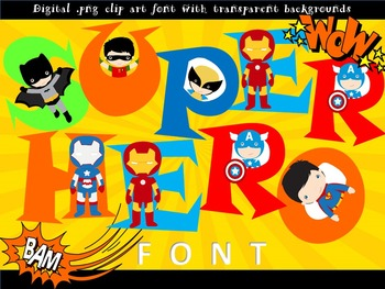 FONTS - SUPER HERO lettering and number set! - Personal &