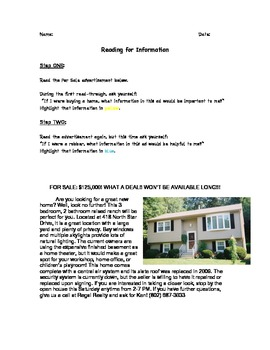 FOR SALE: Reading for Information