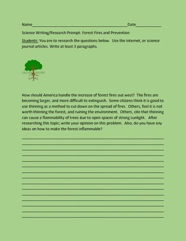 FOREST PRESERVATION: WRITING PROMPT: CONTEST OR SCIENCE FAIR