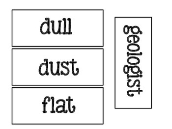FOSS Pebbles, Sand, and Silt Word Wall Words