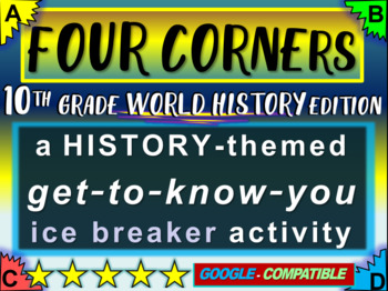 """""""FOUR CORNERS"""" Get-to-know-you game - ice breaker for 10th"""