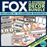 FOXES THEME Classroom Decor - EDITABLE Clutter-Free Classr