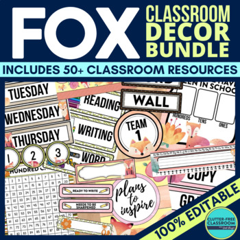 FOXES THEME Classroom Decor - EDITABLE Clutter-Free Classr