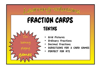 FRACTION CARDS TENTHS - Fraction/Grid Picture/Decimal - EQ