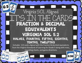 FRACTION DECIMAL EQUIVALENTS VIRGINIA SOL GRADE 5 CARDS