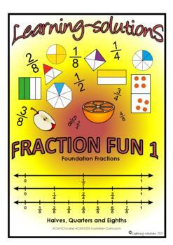 FRACTION FUN 1 - A Workbook and 50 Task Cards - halves, qu