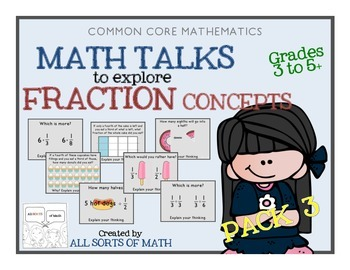FRACTIONS MATH TALK (Grades 3-5) PACK 3