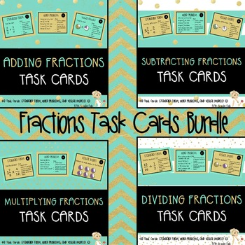 FRACTIONS TASK CARDS BUNDLE: ADDING, SUBTRACTING, MULTIPLY