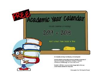 FREE 2016-2017 School Year Organizational Calendar MS Word Format