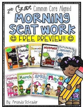 FREE 2nd Grade Common Core Morning Seat Work Bundle