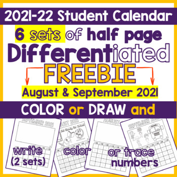 FREE - 4 Differentiated Student Calendar for October  2016