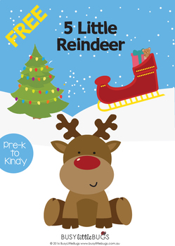 FREE - 5 Little Reindeer Finger Puppets for Christmas