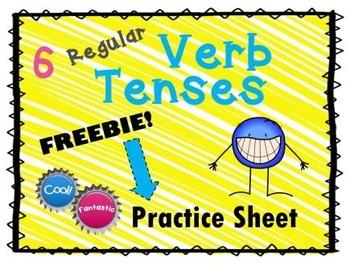 FREE! 6 Regular Verb Tenses Practice Sheet