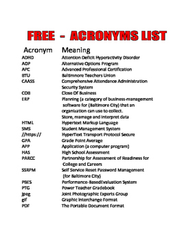 FREE   ACRONYMS LIST for teachers