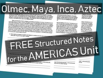 FREE! AMERICAS UNIT structured notes (Olmec, Maya, Inca, Aztec)