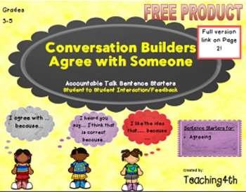 FREE- Accountable Talk - Conversation Builder Agree With Someone