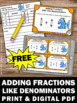FREE Download Adding Fractions with Like Denominators Task